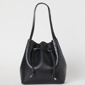 H&M Black Faux Crocodile Bucket Bag